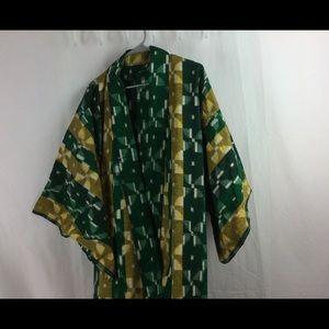 Fun long kimono in green and gold